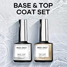 Modelones No Wipe Top and Base Coat Gel Polish Set – UV LED Soak Off New Upgraded..