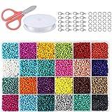 Semilla de Cuentas de vidrio Set, 24 colores de Ronda Mini Bead Kit Surtido perlado perlas de perlas para hacer la joyería, bricolaje hacer a mano con la fabricación de accesorios de herramientas
