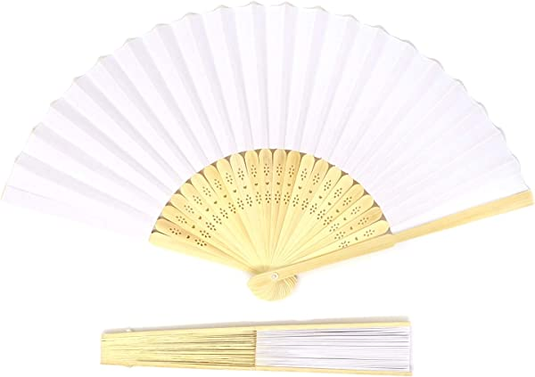 Honbay 6PCS White Handheld Folded Paper Fans With Bamboo Handle For DIY