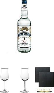 Bommerlunder Aquavit 0,7 Liter  Nosing Gläser Kelchglas Bugatti mit Eichstrich 2cl und 4cl 2 Stück  Schiefer Glasuntersetzer 2 Stück