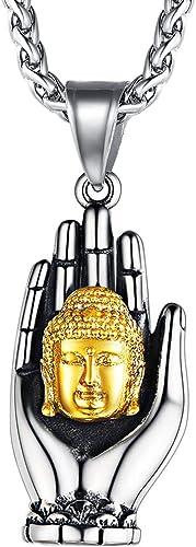 FaithHeart Collier Bouddhiste Pendentif Fleur de Vie Mandala/Tête de Bouddha/Fleur de Lotus Pendentif Porte Bonheur T...