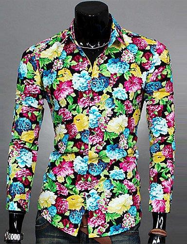HAN-NMC Men's Casual/Simple Quotidienne Printemps Automne Floral,Chemise Col Classique Manches Longues Polyester Coton Mince,L,Blue