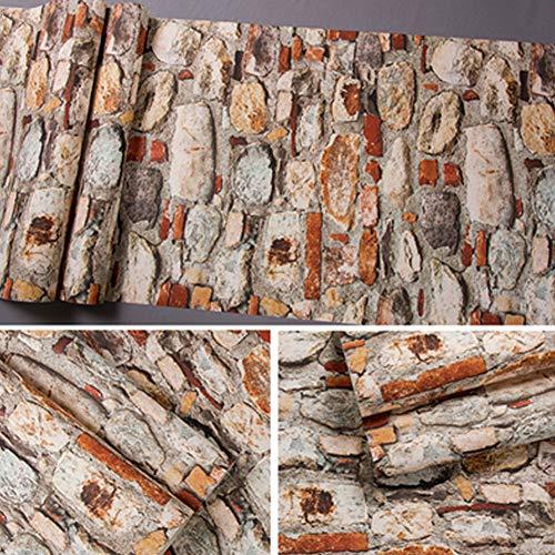 Tapete, Antike Nostalgie 3D Stereoskopische Antike Stein Tapete Restaurant Cafe Persönlichkeit Hintergrund Tapete 0,53 * 10m, 5,3㎡