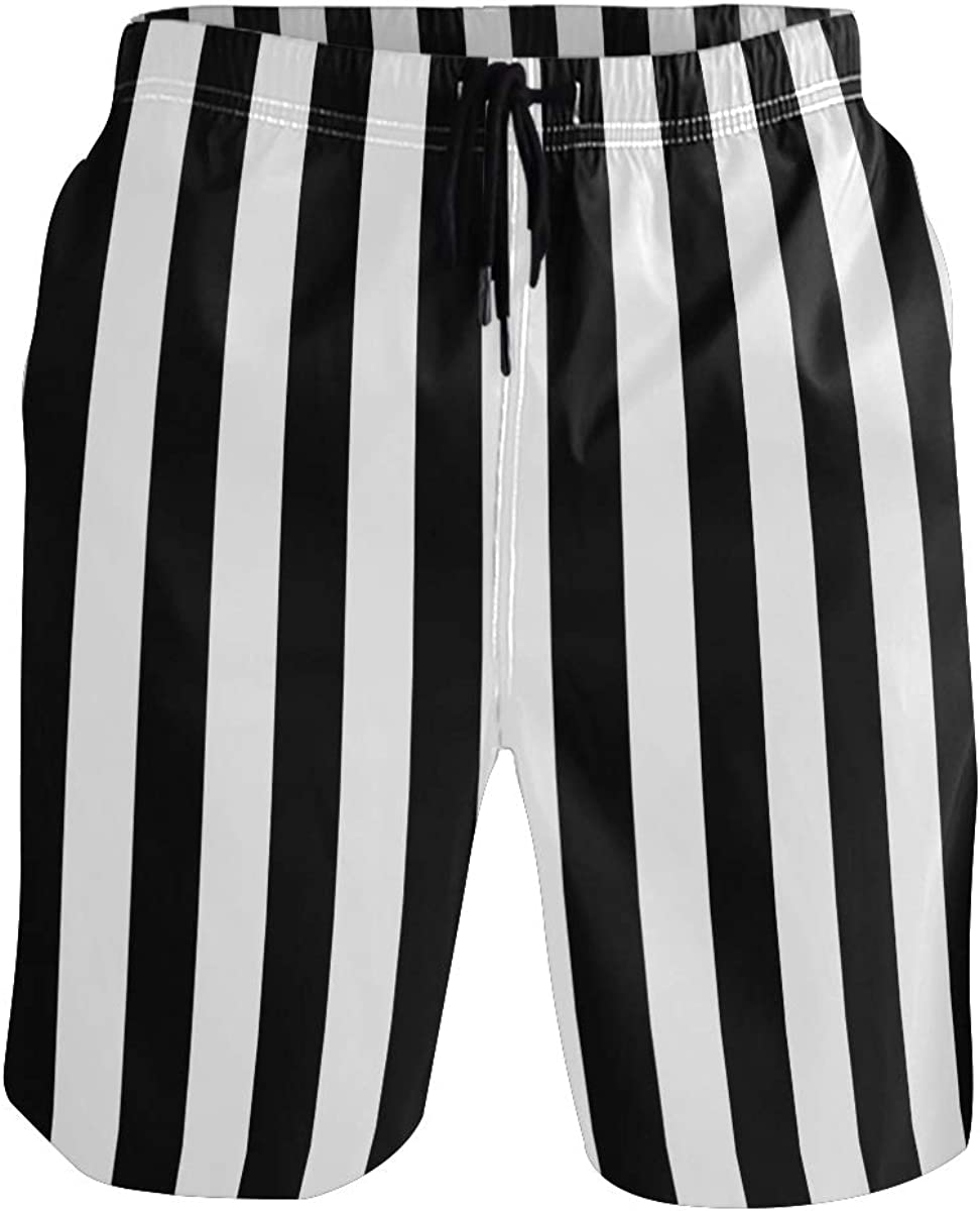 Men's Swim Trunks Black & White Vertical Stripes Boxer Briefs Trunks Underwear Shorts Swimming Beach Surfing Board Shorts