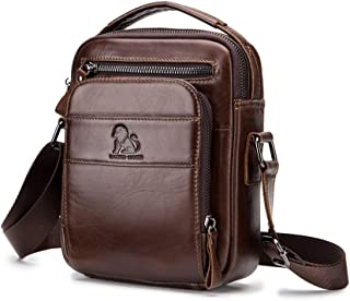 Men's Shoulder Bag, Popoti Handbag Leather Crossbody Bag Shopping School Backpack Messenger Carrying Bags Tote Purse Multifunction Small Card Pocktes (Coffee)