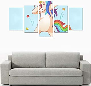 Liaosax Bathroom Wall Art Canvas Print for Girls Dabbing Unicorn Dab Dancing Fashion No Frame 5 Pieces Paintings Posters Prints On Canvas Hang for Bedroom Home Office Wall Decor
