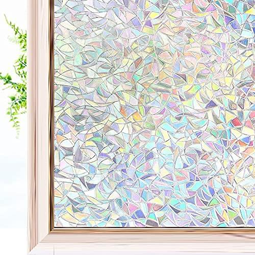 Pellicola per finestra effetto arcobaleno 3D, per privacy e protezione UV, adatta per casa, cucina, ufficio, A 60 x 300 cm