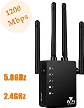 Upgraded WiFi Repeater Range Extender, Aigital 1200Mbps Wireless Internet Booster 5G & 2.4G Dual Band Signal Amplifier with Long Range High Gain 4 Antennas & WPS Function, Easy Setup