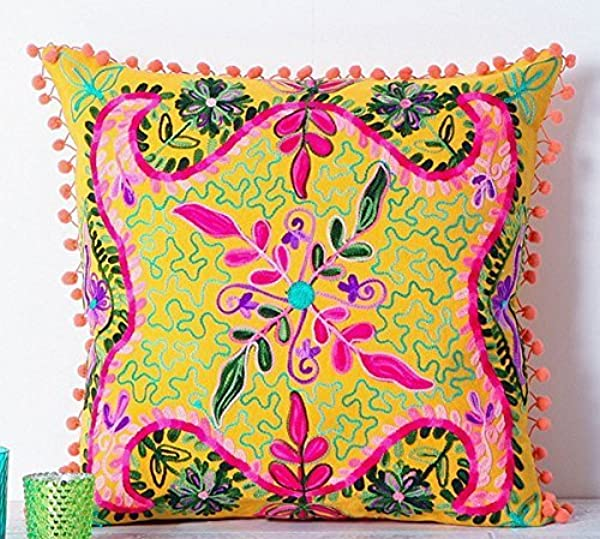 Embroidered Yellow Cotton Suzani Cushion Cover 20
