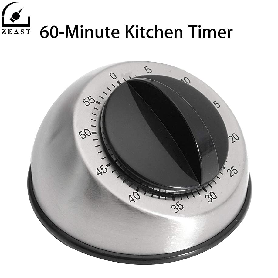 AMZVASO - Timer 60 Minute Kitchen Timers Cooking Stainless Steel Mechanical Clock Countdown Alarm