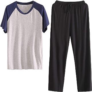 LANBAOSI Mens Pajama Set Crew Neck Short Sleeve and Long Pants Soft Top & Bottom Sleepwear