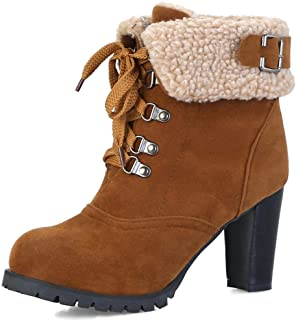 71774b7afb53b3 DecoStain Women s Classic Lace Up Block Heel Winter Short Boots with Fur  Shoes Keep Warm Ankle