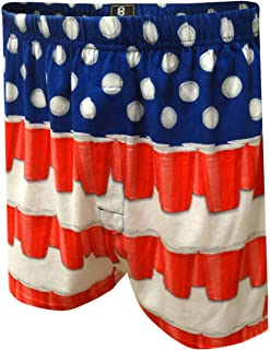 Briefly Stated Men's American Flag Beer Pong Boxer Shorts
