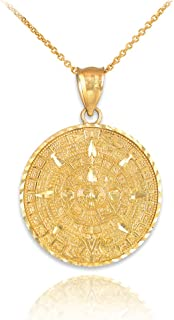14k Yellow Gold Aztec Charm Mayan Calendar Pendant Necklace