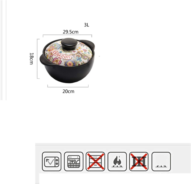 LIUSHI Casserole en Argile, cuisinière Ronde Multifonction à Haute température, Batterie de Cuisine en spodumène Saine, Facile à Nettoyer 3L 3l