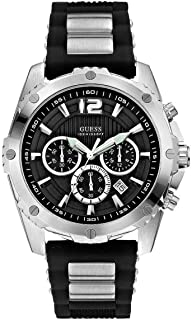 Guess For Men Black Dial Silicone Band Chronograph Watch - U0167G1,