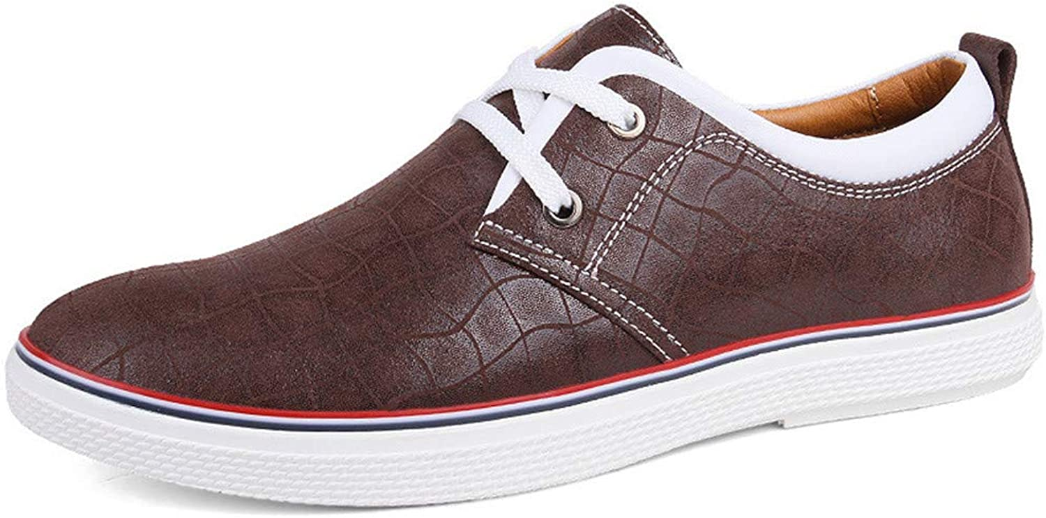 Daily Casual Men's Cowhide Upper Brown Front Lacing shoes Leisure