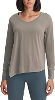 Womens Long Sleeve Workout Shirts Tie Sideward Quick Dry Yoga Tee Shirt Loose Casual Tops