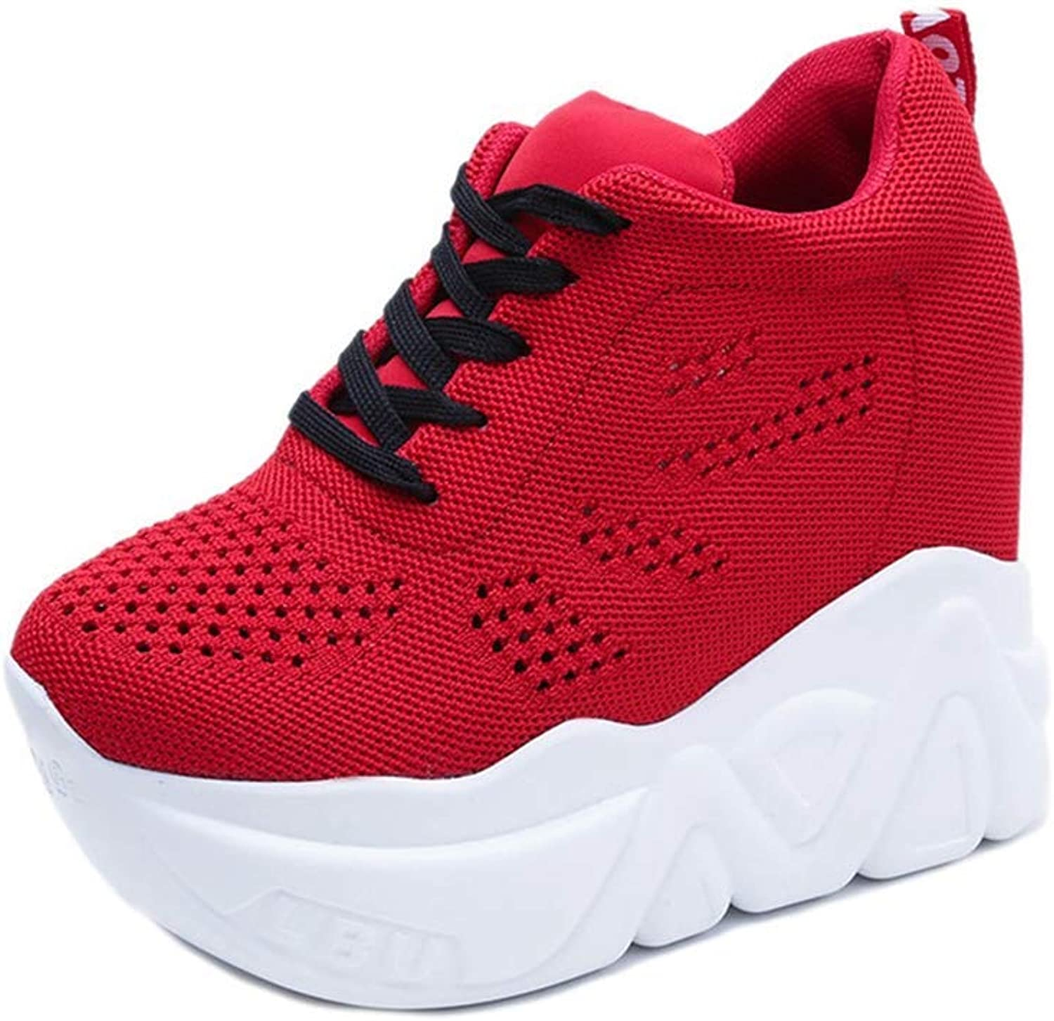 Lelehwhge Women's Fashion Increases Casual shoes Female Network Air Wedge Airplane Platform shoes Red 6.5 M US
