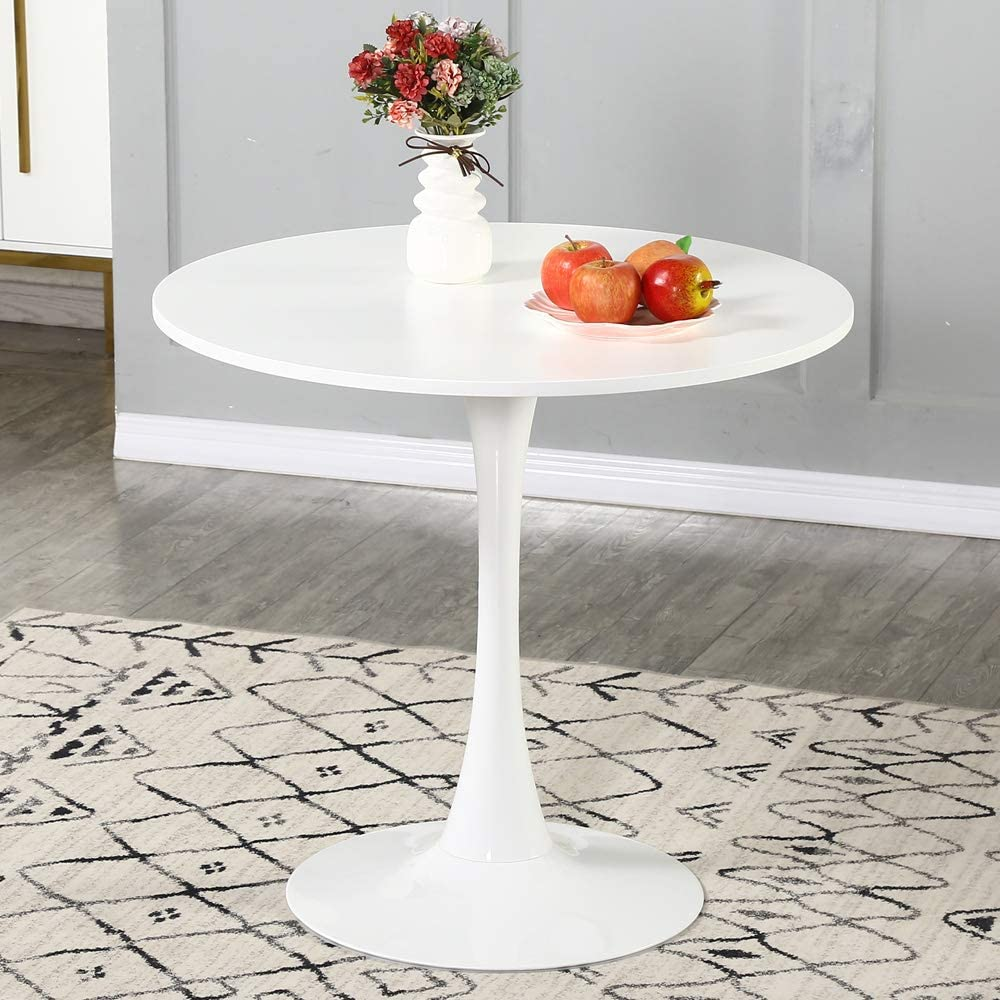 WENYU Round White Dining Table   Modern Dining Table Pedestal Dining Table  for Small Space End Table Leisure Coffee Table Office Kitchen Table Dining  ...