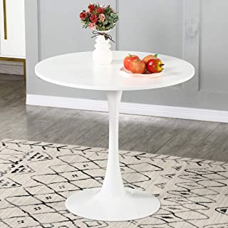 WENYU Round White Dining Table - Modern Dining Table Pedestal Dining Table for Small Space End Table Leisure Coffee Table ...