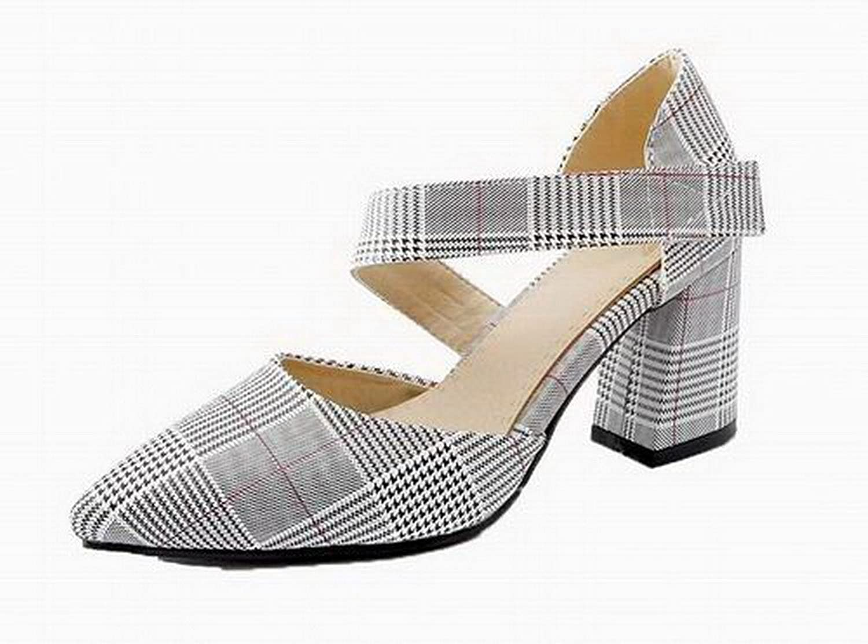 AmoonyFashion Women's Blend Materials Hook-and-Loop Sandals, BUTLT006539