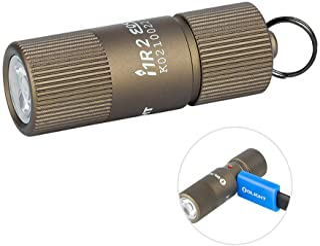 OLIGHT i1R 2 EOS Desert Tan 150 Lumens Tiny Rechargeable Keychain Flashlight EDC Mini LED Keyring Light with Built-in Batt...