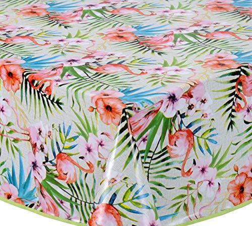 Wachstuch Tischdecke Abwaschbar Eckig 140 x 180 cm Grün Rosa Weiß Flamingo