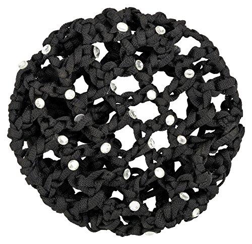 tanzmuster ® Duttnetz Ballett Kinder - Mila - Knotennetz mit Glitzersteinen für den perfekten Dutt (mit Haargummi) schwarz