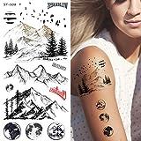 Supperb Temporary Tattoos - Mountain Outline Moon Tree Birds Wildness Adventure Bohemian Temporary Tattoos