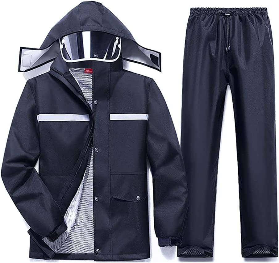 Men's Waterproof Raincoat Suit Workwear Jacket and Pants, Ultralight Waterproof Hooded Raincoat Jacket with Detachable Hat (Color : Black, Size : 2XL)