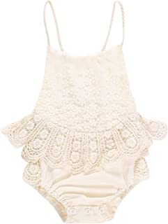 Infant Baby Girl Romper Bodysuit Jumpsuit Outfits Floral Halter Sleeveless Backless Ruffle Tulle Lace Like White Jade