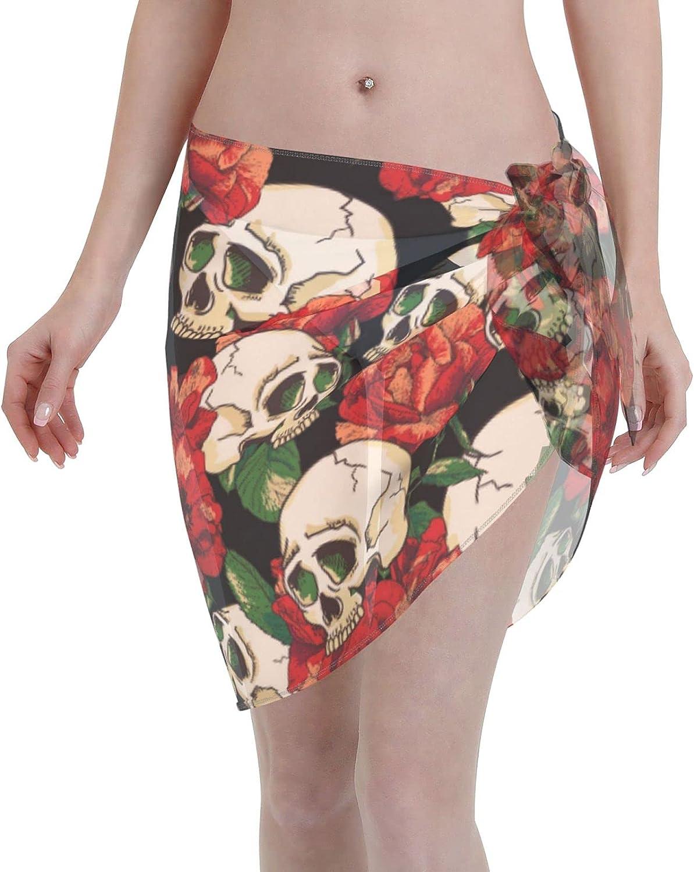 Skull Red Rose Flowers Horror Romantic Women Short Sarongs Beach Wrap Sheer Sexy Short Skirt Bikini Scarf Chiffon Cover Ups for Swimwear