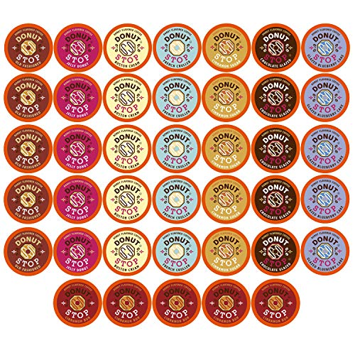 Donut Stop Coffee Flavored Coffee Pods, Compatible with 2.0 K-Cup Brewers, Donut Flavor, Variety Pack, 40 Count
