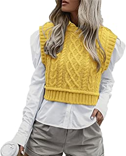 Women 's Simple Knitted Vest Y2k Casual Crew Neck Sweater Sleeveless Solid Color Cable Knit Tank Tops