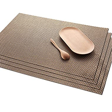 Placemats Skid Resistant Placemats Heat-resistant Placemats Washable Placemats Woven Placemats,Set of 4(Gold)
