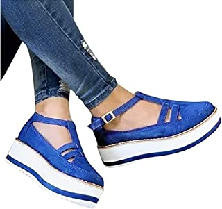 Women's Platform Wedge Sandals, Espadrilles Round Toe Hollow Out Flatform Sandals, Arch Support PU Flat Sandal Buckle Ankle Strap Casual Beach Sneakers,A,35