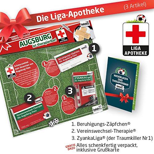 Geschenk-Set: Die Liga-Apotheke für FCA-Fans | 3X süße Schmerzmittel für Augsburg Fans | Die besten Fanartikel der Liga, Besser als Trikot, Home Away, Saison 18/19 Jersey