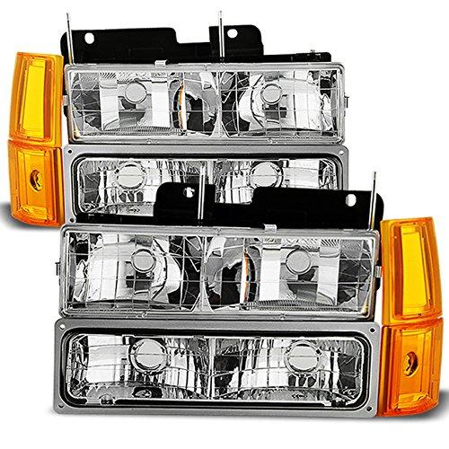 Headlights w//Corner OE Style Bumper Signal Lamps For 94-99 GMC Full Size Pickup Truck Suburban Sierra