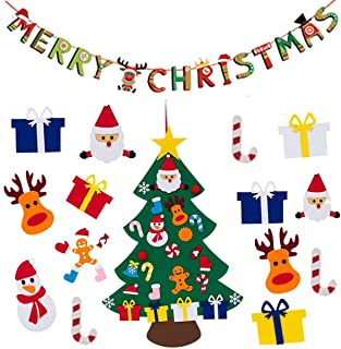 PINCHUANG Felt Christmas Tree for Kids with Christmas Hanging Banner, Wall Hanging Xmas Gifts Decorations (E)