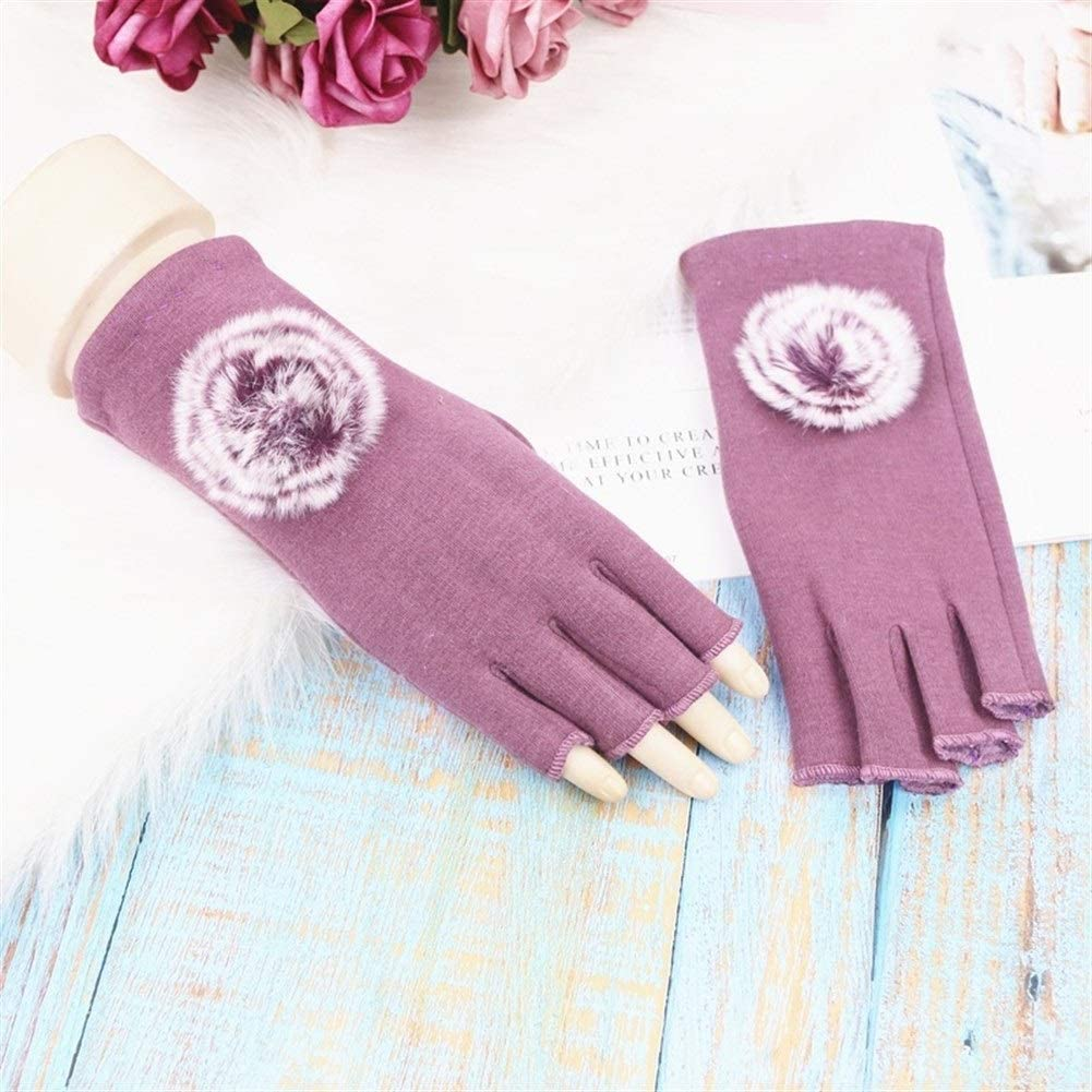 Winter Gloves Wool Gloves Female Thick Warm Cotton Half Finger Gloves (Color : Black, Size : One Size)