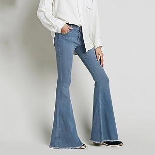 ヨーロッパとアメリカ洗濯されたジーンズズボンズボンオールファッションビッグベルボトムス ガールズ (Color : Blue-B, Size : S-27)