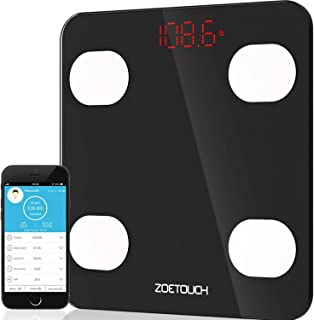 Body Fat Scale, ZOETOUCH Smart Digital Bathroom Weight Scale with iOS and Android APP Wireless Body Composition Analyzer Fitness Health Monitor Capacity up to 180 kg/396 lbs, Black