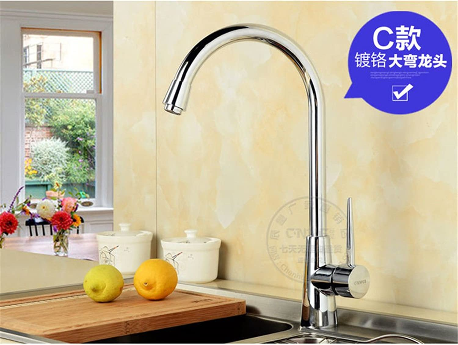 Commercial Single Lever Pull Down Kitchen Sink Faucet Brass Constructed Polished Kitchen Sink, Above Counter Basin, Stainless Steel Sink, Universal redating, Hot and Cold Copper Faucet [80Cm Hose]