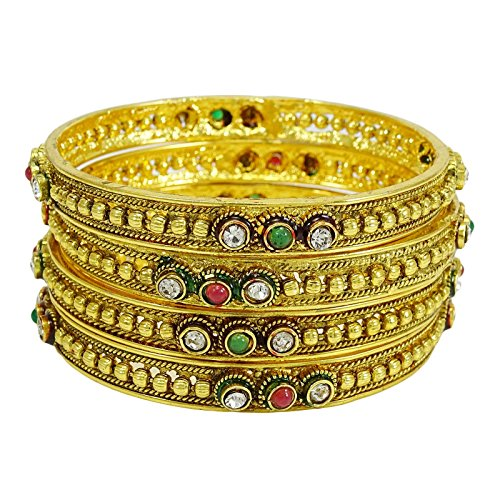 Indianbeautifulart CZ Steine ??Goldtone Armreifen Gesetzt Traditionellen Bollywood Armband Frauen Schmuck 2 * 6