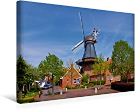 Premium - Lienzo textil, 45 x 30 cm, horizontal, molino de viento en Ditzum Wandbild, imagen sobre lienzo, listo sobre lienzo, diseño de Papenburg y el Rheiderland (CALVENDO Orte);Calvendo Orte