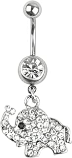 CrazyPiercing 14G Stainless Steel Belly Button Rings for Women Girls Elephant Dangle Navel Rings CZ Body Piercing