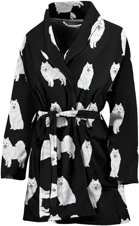 American Eskimo Dog Pattern Print Women's Bath Robe