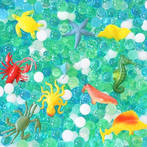 SENSORY4U Dew Drops Water Beads Ocean Explorers Tactile Sensory Kit - 10 Sea Animal Creatures Included - Great Fine Motor Skills Toy for Kids