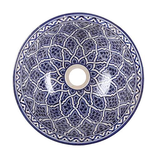 Orientalisches Keramik-Waschbecken Fes112 Ø 35 cm blau weiß rund | Marokkanisches Aufsatzwaschbecken handbemalt Handwaschbecken für Küche Badezimmer Gäste-Bad | Einfach schöner Wohnen | WB35112